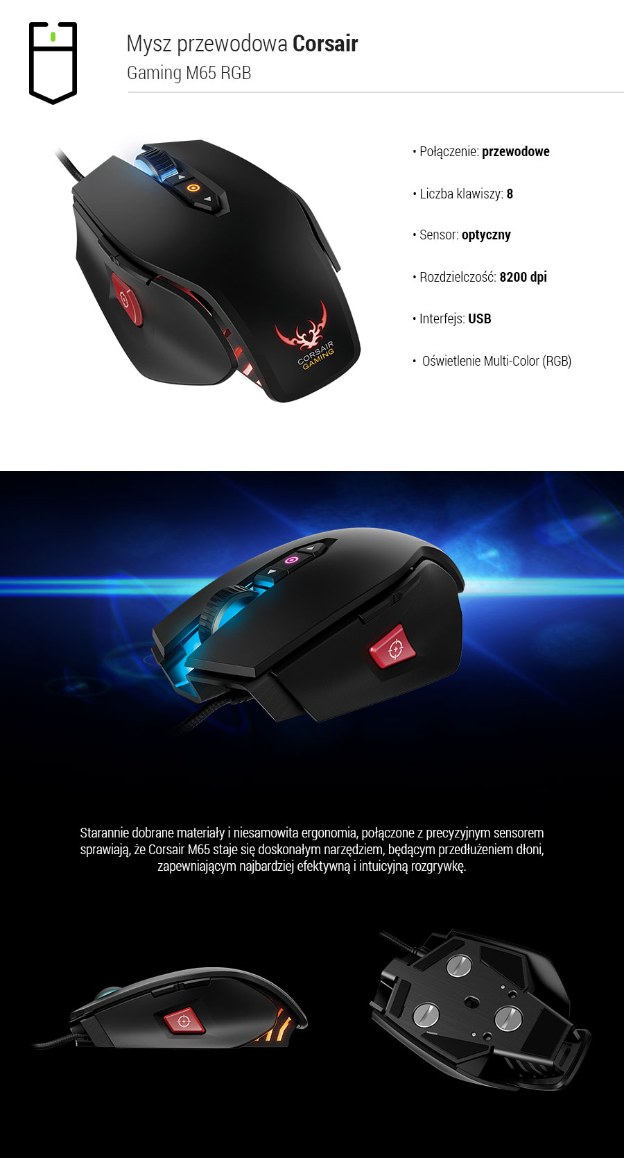 Mysz gamingowa Corsair Gaming M65 RGB Multi-Colour