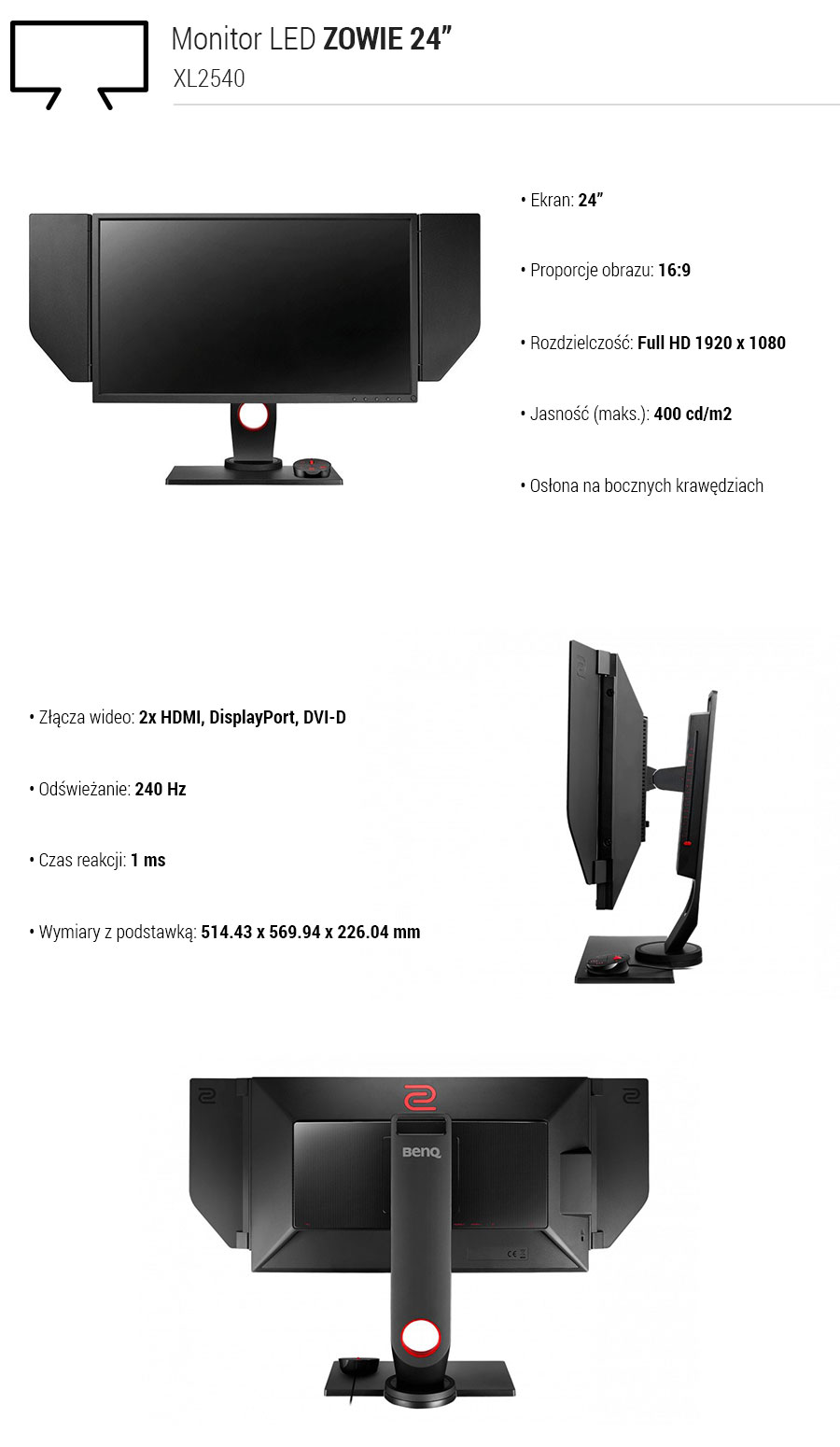 BenQ ZOWIE 24 XL2540 LED